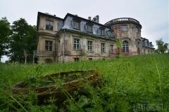 Palats med igenvuxen trädgård